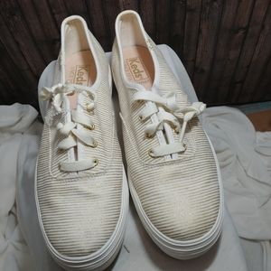 Keds Platform Sneakers with Gold Stripes